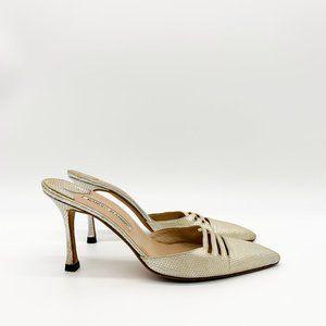 MANOLO BLAHNIK Silver Python Pointed Sandals